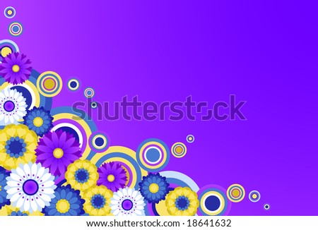Colorful funky floral background. - stock vector