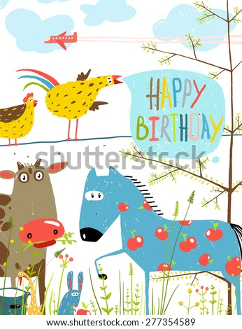 Colorful Funny Cartoon Farm Domestic Animals Birthday Greeting Card. Countryside humor cute colorful animals illustration for children. Vector EPS10. - stock vector