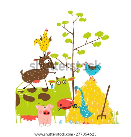 Colorful Funny Cartoon Farm Domestic Animals Pyramid Composition Card. Countryside cottage animals illustration for children. Vector EPS10. - stock vector