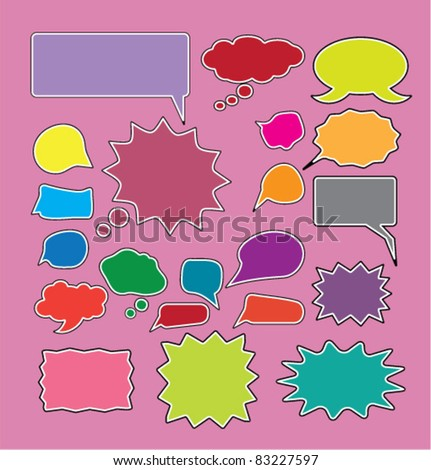 colorful funny comic chat signs, icons, vector. - stock vector