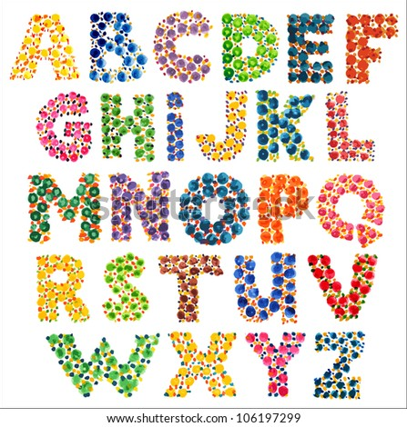 Colorful funny dotted alphabet - stock vector