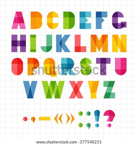 Colorful funny geometric alphabet with overlap effect, vector illustration. For kids birthday poster or logo. - stock vector