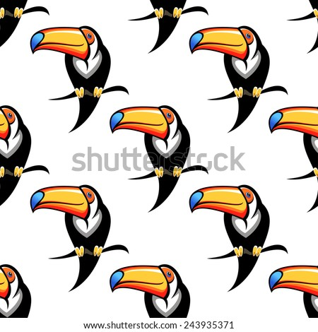 Colorful funny toucan bird seamless pattern for travel or wildlife design - stock vector