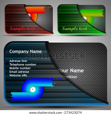 Colorful futuristic business card template layout stock vector hd colorful futuristic business card template layout with case abstract metallic pattern various colors colourmoves