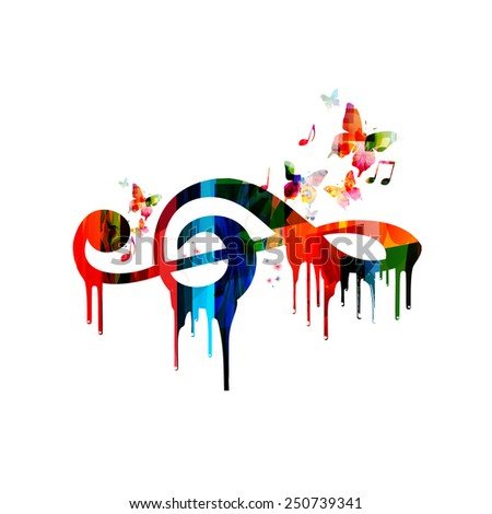 Colorful G-clef design - stock vector