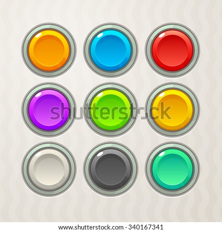 Colorful Game Buttons. Vector GUI elements for mobile games - stock vector