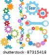 Colorful gears and wrench and bolt Gear Up to form line and circle borders - stock photo