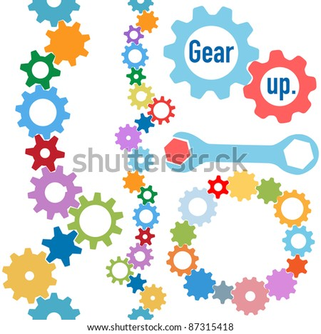 Colorful gears and wrench and bolt Gear Up to form line and circle borders - stock vector