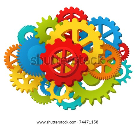 Colorful gearwheel mechanism illustration - stock vector