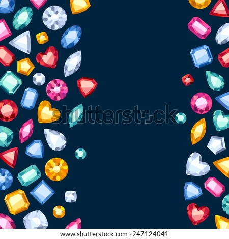 Colorful gemstones background on dark blue. Jewels pattern. - stock vector