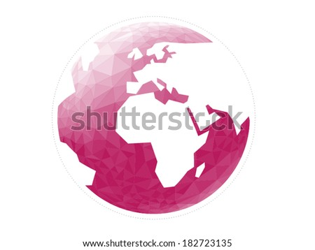 Colorful geometric abstract earth globe sphere vector graphic template concept illustration isolated on light white background - stock vector