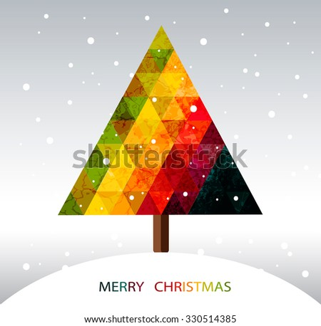 Colorful geometric christmas tree with place for your text - stock vector