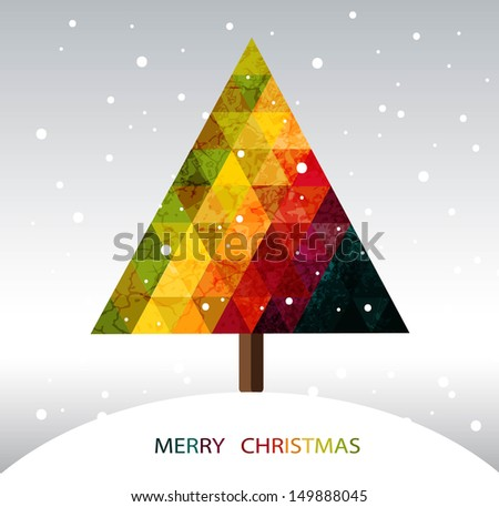 Colorful geometric ?hristmas tree with place for your text - stock vector