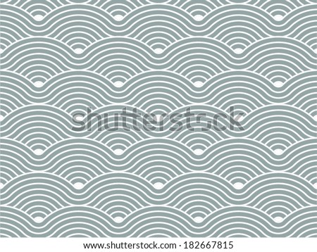 Colorful geometric seamless repetitive vector curvy waves pattern texture background vector graphic illustration - stock vector