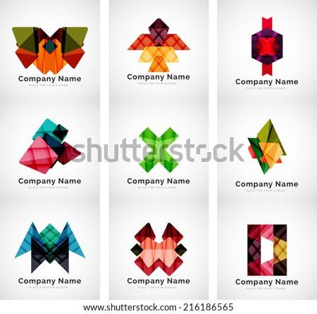 Colorful geometric shape icon collection, company branding logo design set - stock vector
