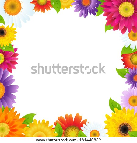 Colorful Gerbers Flower Frame, With Gradient Mesh, Vector Illustration - stock vector