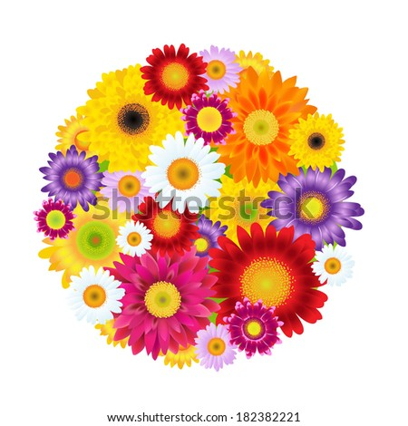 Colorful Gerbers Flowers Ball, With Gradient Mesh, Vector Illustration - stock vector