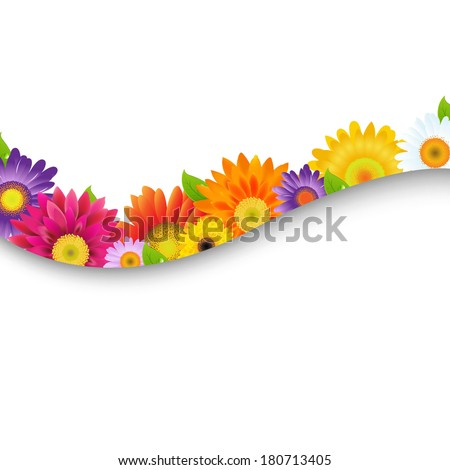Colorful Gerbers Flowers Frame, With Gradient Mesh, Vector Illustration - stock vector