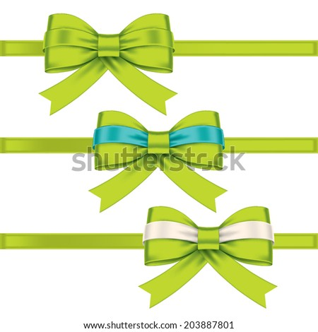 colorful gift bows with ribbons - stock vector