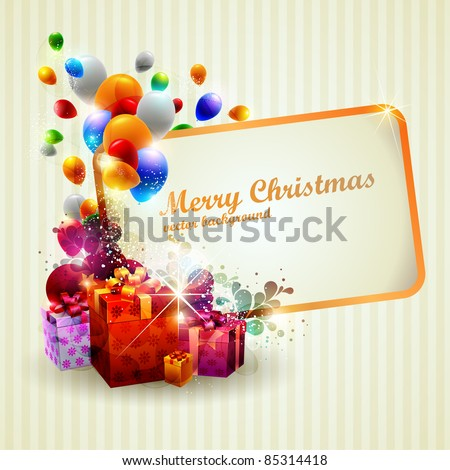 Colorful gifts and place for text. - stock vector