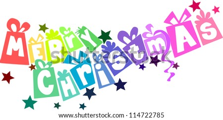 Colorful gifts - christmas text. Vector illustration. - stock vector