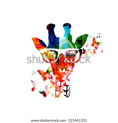 Colorful giraffe design with butterflies - stock vector