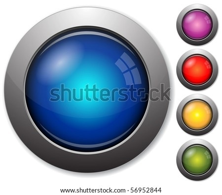 Colorful glass buttons with metal borders - stock vector