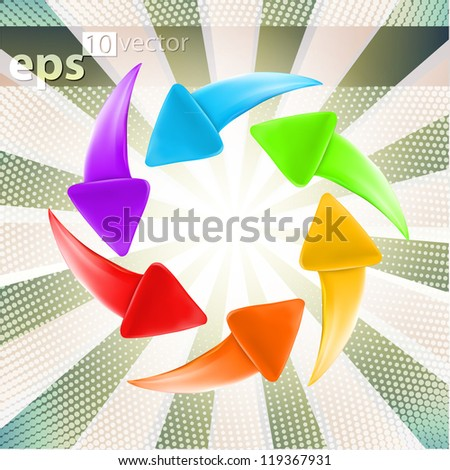 Colorful glossy arrows, set of six color versions, eps10 vector label icon emblems - stock vector