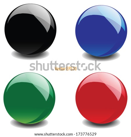 colorful glossy ball vector - stock vector