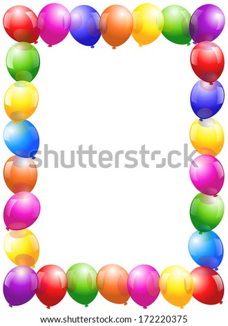 Colorful glossy balloons that form a frame - vertical portrait format. - stock vector