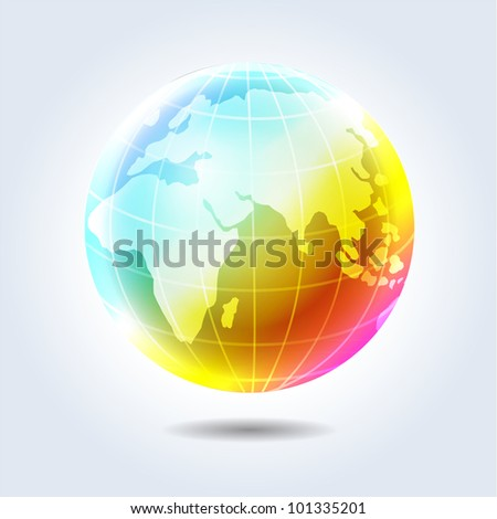 Colorful glossy rainbow earth globe icon hanging in light space - stock vector
