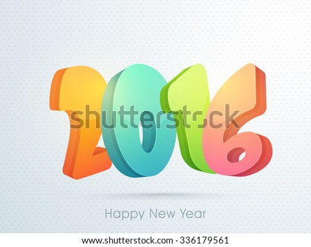 Colorful glossy text 2016 on abstract background for Happy New Year celebration.