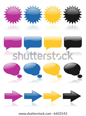 Colorful, glossy web icons in purple, blue, yellow and black; perfect for any web project - stock vector