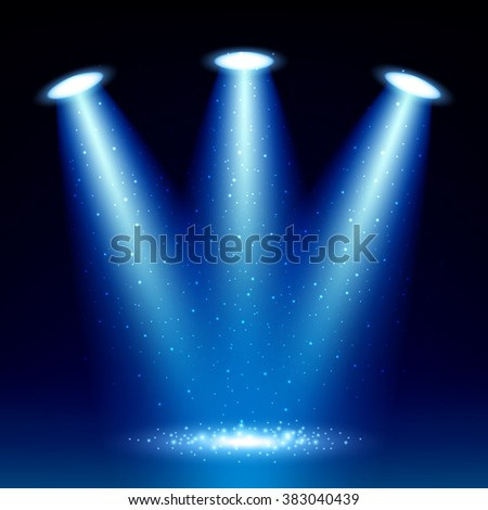 Colorful glow spotlight background with sparkles vector illustration. Blue floodlight projector.
