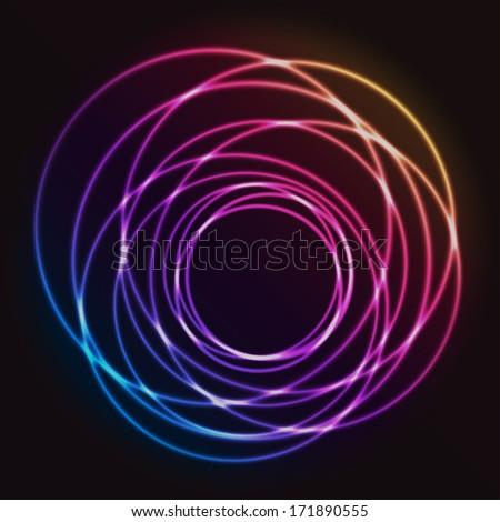 Colorful Glowing Rings Design - vector eps10 abstract background  - stock vector