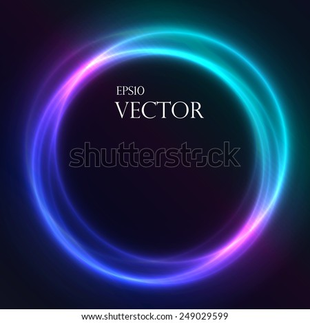 Colorful Glowing Rings  vector eps10 abstract background. Neon effect. - stock vector