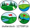 Colorful Golf Icons with red flags - stock vector