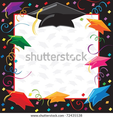 Colorful Graduation Invitation with copy space - stock vector
