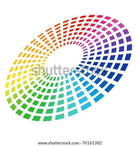 Colorful Graphic Equalizer. Circle in space. Vector illustration on white. - stock vector