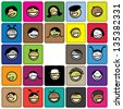 Colorful graphic of cute and happy faces of children(kids). The illustration shows faces of young girls and boys on colored background blocks expressing positive emotions like smiling or laughing - stock vector