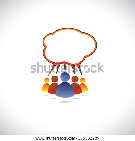 Colorful graphic of people chatting, talking, communicating. The illustration represents community of people sharing information or communicating online using social media or general conversation, etc - stock vector