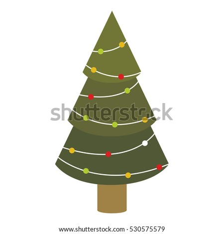 colorful green abstract christmas tree with trunk