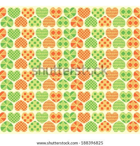 Colorful green and orange hearts  with geometric pattern.