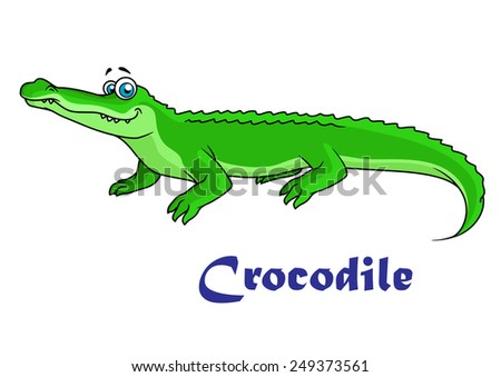 Colorful green cartoon crocodile character with text Crocodile below - stock vector