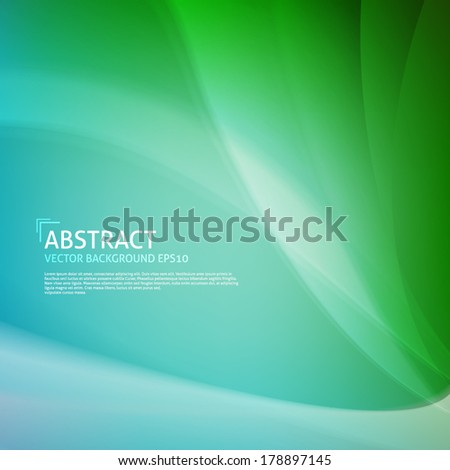 Colorful (green color) smooth twist light lines vector background design. Eps 10. - stock vector