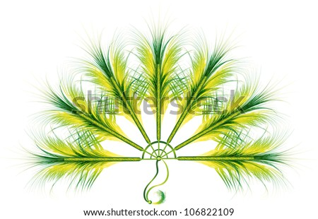 colorful green feather fan cabaret or carnival accessories - stock vector