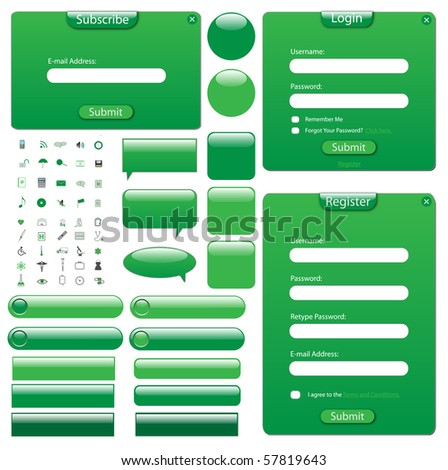 Colorful green web template with forms, bars, buttons and icons.