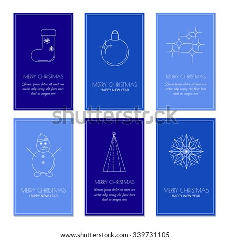 Colorful greeting card templates with linear Christmas icons. Set of Christmas cards with different winter and Christmas symbols. Snowman, Christmas sock, ball, fir tree, snowflake and firework. - stock vector