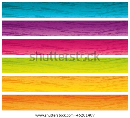Colorful grunge banners set. 728x90 for commercial use. Vector colletion.