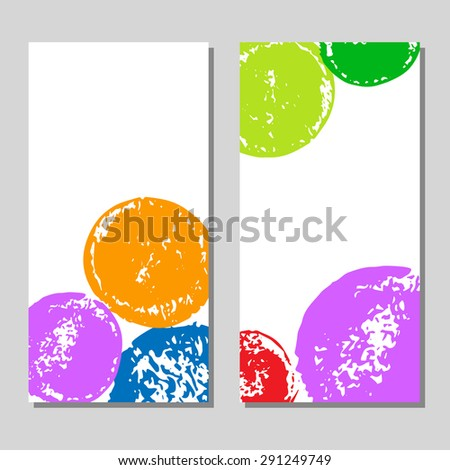 Colorful grunge hand drawn circles cards set on white, vector